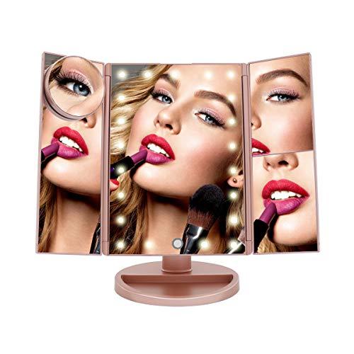 Espejo de Maquillaje con Luz LED ajustable para Tocador Espejo de Mesa Cosmetico con Aumentos 10x, 3X, 2X, Iluminación 21 LED, Luz Ajustable, táctil, Rotación de 180° funciona con USB o 4 Pilas BE104