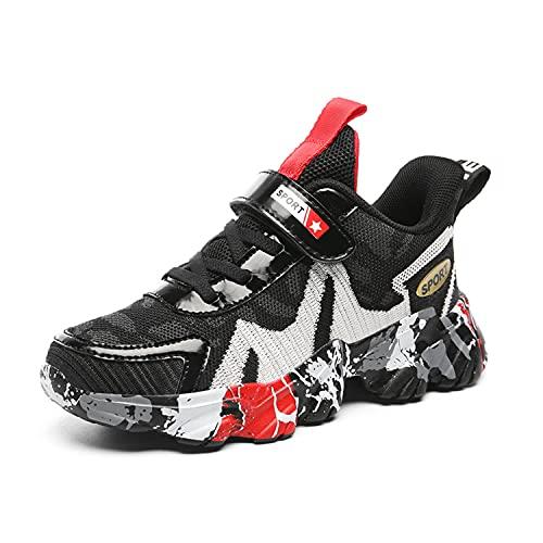 Scarpe da tennis da corsa per bambini Camo scarpe da ginnastica leggere casual per bambini e ragazze, Nero e bianco, 28 EU