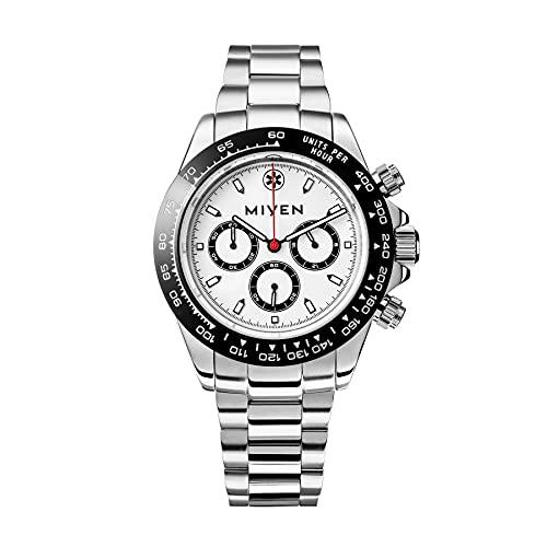 MIYEN MUNICH Voyager Herren Uhr - Chronograph mit Miyota Quarz Präzisionslaufwerk Saphirglas & Tachymeter Funktion – Silber Uhr Herren (Schwarz/Silber)