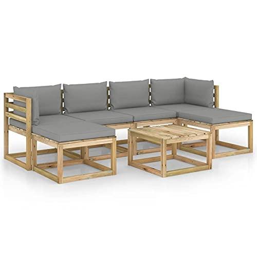 Susany Conjunto de Muebles de Jardín 7 Piezas con Cojines Muebles de Palets de Jardín Sofá y Mesa para Patio Mueble Exterior Madera Pino Impregnado Gris