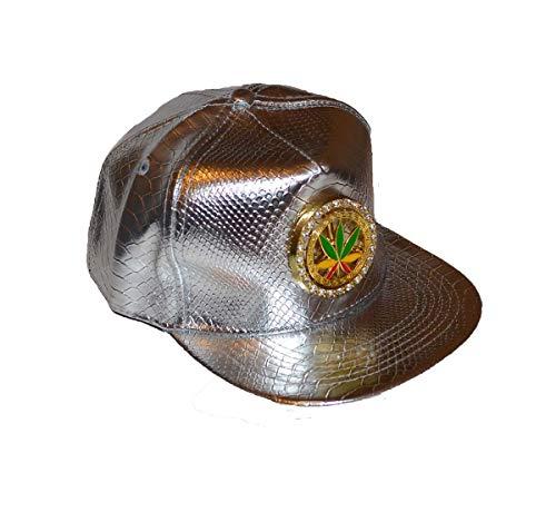 Casquette avec motif feuille de cannabis métallique Argenté