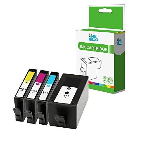 InkJello Compatibile Inchiostro Cartuccia Sostituzione Per HP Officejet 6820 e-All-in-One, Pro 6230 ePrinter, Pro 6830 e-All-in-One 934XL/935XL (Nero/Ciano/Magenta/Giallo, 4-Pack)