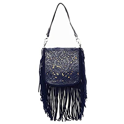 Western Genuine Leather Cowgirl Crossbody Messenger Fringe Laser Cut Purse Bag in 5 colors (Turquoise)