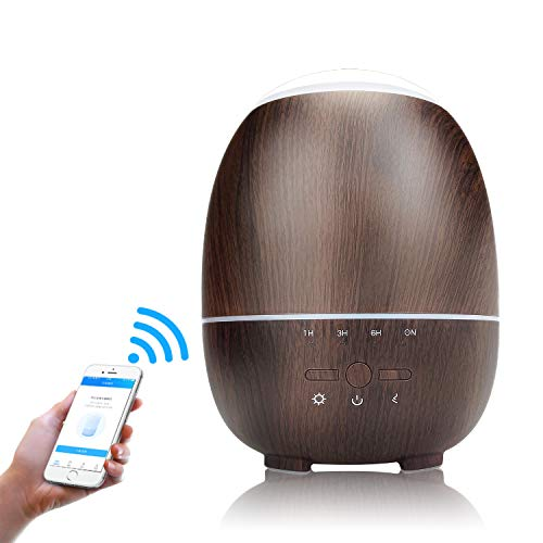 smpufier Essential Oils Diffusers, WiFi Aromatherapy Diffuser -App Control Compatible with Alexa, 300ml Ultrasonic Diffuser & Mist Air Humidifier with Colorful LED Lights, Timer/Schedule Setting