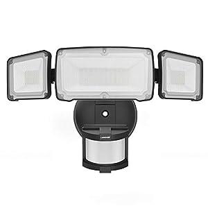 LEPOWER 35W LED Security Lights Motion Sensor Light Outdoor, 3500LM Motion Security Light, Waterproof IP65, 5500K, Full Metal, 3 Head Motion Detected for Garage, Porch, Yard (Black)