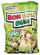 Wild Apple Flavored Colombian Bubble Gum Lollipops / Bon Bon Bum Chupeta Rellena de Chicle Sabor a Lulo 24 Pieces Per Bag 2 Pack
