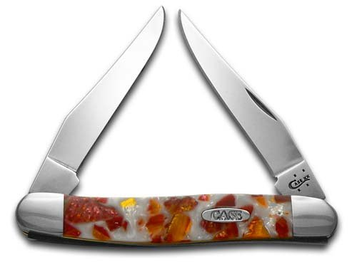 CASE XX Smooth Chipped White Pearl and Sun Dance Corelon Muskrat Stainless Pocket Knife Knives
