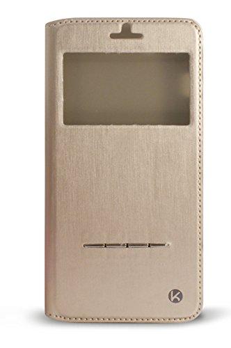 KSIX Stand Folio beschermhoes met venster en functie voor Samsung Galaxy S5-kruk, goud
