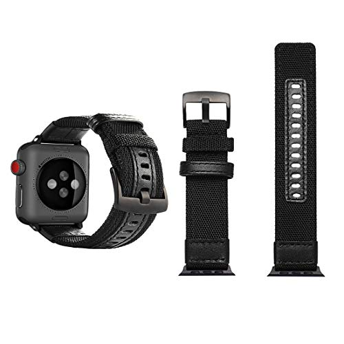 Jeep Style Nylon Wrist Watch Band con Hebilla de Acero Inoxidable for Apple Watch Series 3 y 2 y 1 42 mm Reloj (Color : Black)
