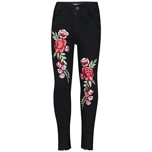A2Z 4 Kids® Kinder Mädchen Dünn Jeans Designer Rosen Gestickt Denim - Girls Jeans JN26 Black 9-10