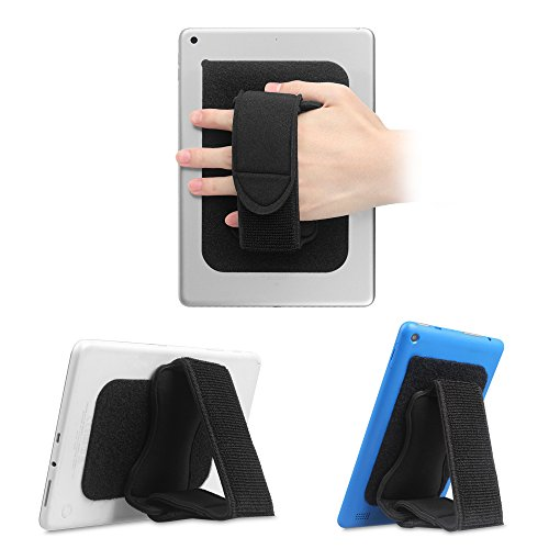 FINTIE Universal Tablet Hand Strap Holder - [Dual Stand Supports] Detachable Padded Hook & Loop Fastening Handle Grip with Adhesive Patch for iPad/Samsung Galaxy Tab and All 7-11' Tablets, Black