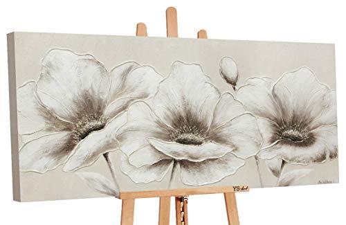 YS-Art Premium | Acryl Gemälde Blumen II | Handgemalte Leinwand Bilder | Wandbild Acrylgemälde | Kunst| Leinwand | Unikat | Beige (120 x 60 cm)