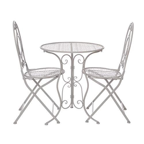 Set tavolo con 2 sedie pieghevoli, in ferro Grigio
