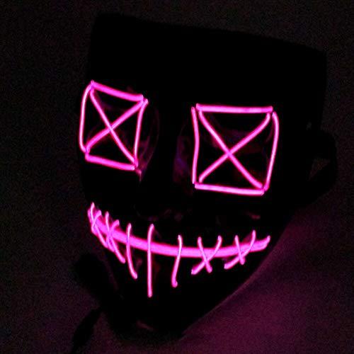 Queta Halloween Masken 2019 Version LED Leuchten Maske Halloween Accessoires Karneval Maske für Festivalparty Cosplay Batterie Angetrieben...