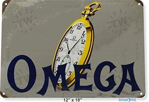 Reloj Omega Metal 8 x 12 pulgadas aspecto vintage decoración cartel para el hogar, cocina, baño, granja, jardín, garaje, citas inspiradoras decoración de pared