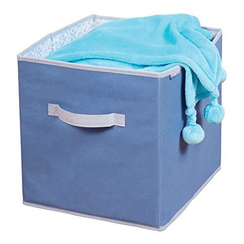 mDesign opbergdoos van stof - voor orde in de kinderkamer en om speelgoed op te bergen, box voor luiers, kleding, dekens etc. - blauw/grijs