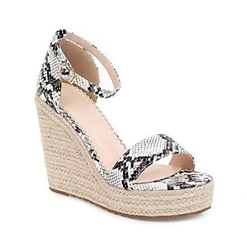 Women Snake Print Open Toe Wedges Platform High Heels Sandals Ankle Strap Heels for Travel Picnic Shopping White