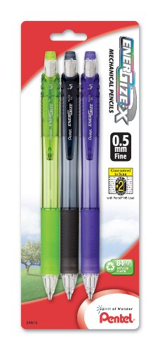Pentel EnerGize-X Mechanical Pencil, 0.5mm, Assorted Barrel Colors, Pack of 3 (PL105BP3M)