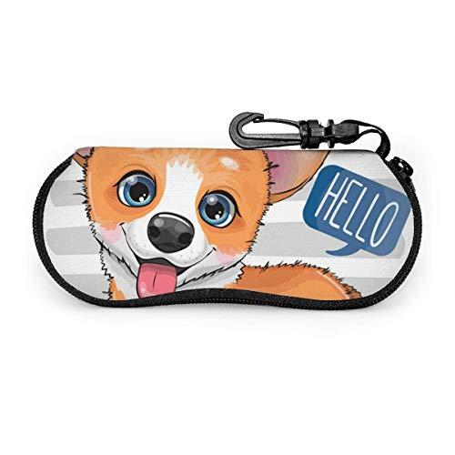 Nette Cartoon Hund Corgi Fall Anti-Shock Reißverschluss Sonnenbrillen Beutel Brillen Tasche Fälle Koffer Halter
