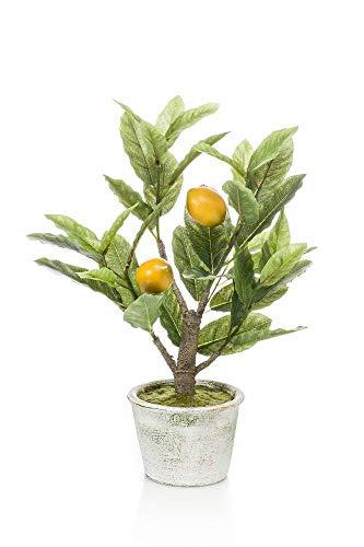 artplants.de Set 3 x Kunstbaum Zitronenbaum PETIN, Kunststamm, Früchte, Dekotopf, 45cm - Künstlicher Zitronenbaum - Dekobaum