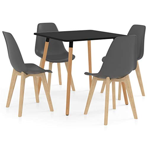 vidaXL Essgruppe 5-TLG. Esszimmergruppe Esszimmergarnitur Esstischset Tischset Sitzgruppe Küchentisch Esszimmertisch Esstisch mit 4 Stühlen Grau