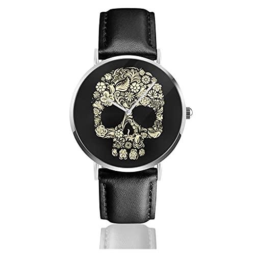 Floral Skull Relojes Reloj de Cuero de Cuarzo con Correa de Cuero Negro para Hombre, Mujer, colección Joven, Casual de Negocios