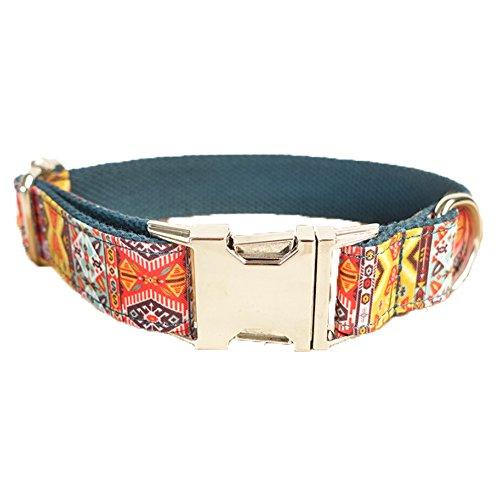 TVMALL Collar de perro ajustable de nailon para mascotas, regalo creativo, estilo étnico, adecuado para perros grandes/medianos/pequeños (cian, M)