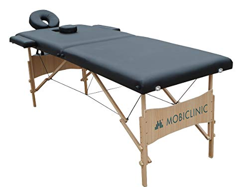 Mobiclinic, Light, Camilla fisioterapia plegable, Cama de Masaje, Reposacabezas, Masaje, Portátil, Madera, 186x60 cm, Negro