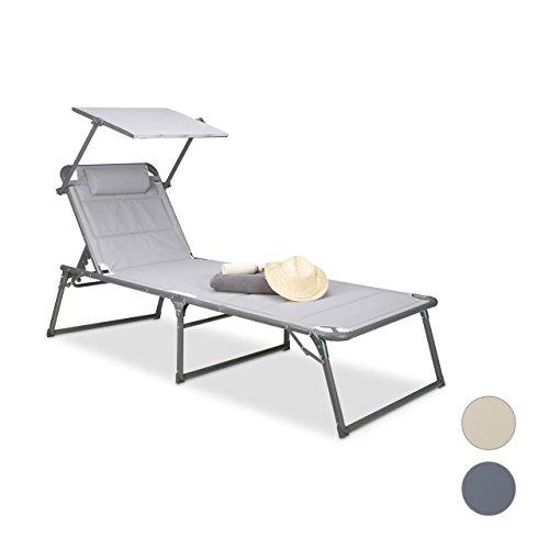 Relaxdays Gartenliege klappbar, Sonnenliege Dach, Deckchair, Sonnenschutz, verstellbar, HBT: 37 x 70 x 200 cm, blau