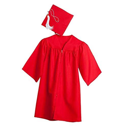 Bumplebee Kinder Akademischer Talar Doktorhut für Abschluss, Vorschule und Bachelor Grundschule Abschlussfeier, Academicus Komplett-Set Graduation Robe Unisex (Rot, XL)
