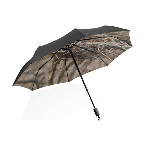 Paraguas para Hombre Nido de pájaro y Huevos Paraguas Plegable portátil Compacto Protección contra Rayos UV A Prueba de Viento Viajes al Aire Libre Mujeres Paraguas Grandes para Mujeres