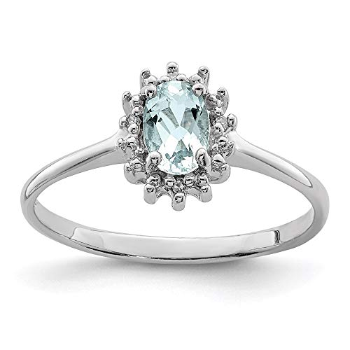 925 Sterling Silver Blue Aquamarine Diamond Band Ring Size 6.00 Gemstone Fine Jewellery For Women Gifts For Her