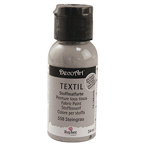 Rayher 38500558 Textil Stoffmalfarbe, Textilfarbe steingrau, Flasche 34 ml, hochdeckend, cremige Acrylfarbe speziell für Textilien, waschfest