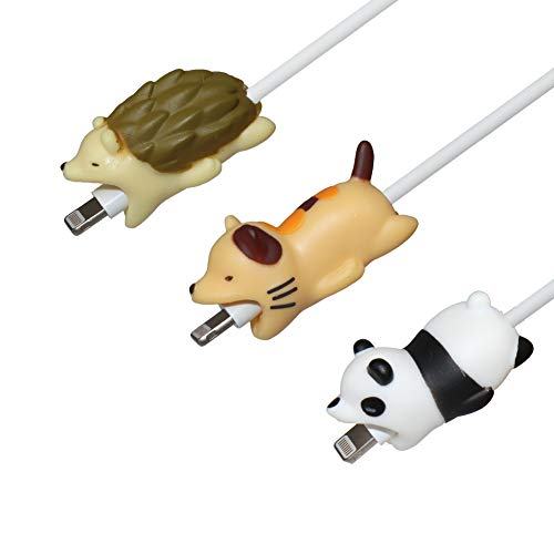 Seala Animal Bite Cable Protector, Cute Animal Cable Bites Cable Buddies Cell Phone Charger Accessory Charging Cord Saver Compatible with iPhone X/8/7/iPad and More (Cat/Panda/Hedgehog)