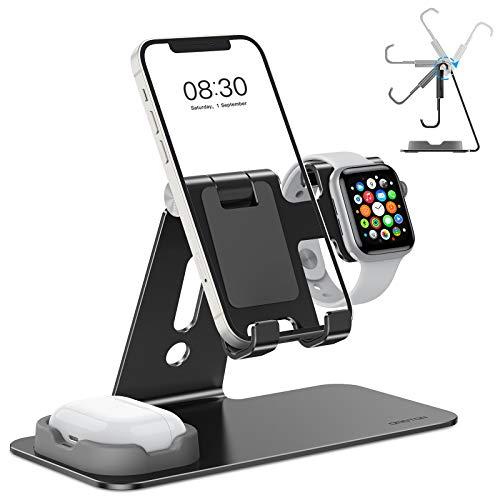 OMOTON 3 in 1 Supporto per Airpods e Apple Watch Regolabile, Stand Tavolo per Telefono, Stazione di Ricarica per Apple Watch SE/6/5/4/3/2/1, Dock per iPhone 12, SE, 11 PRO, Airpods 1,2, PRO, Nero
