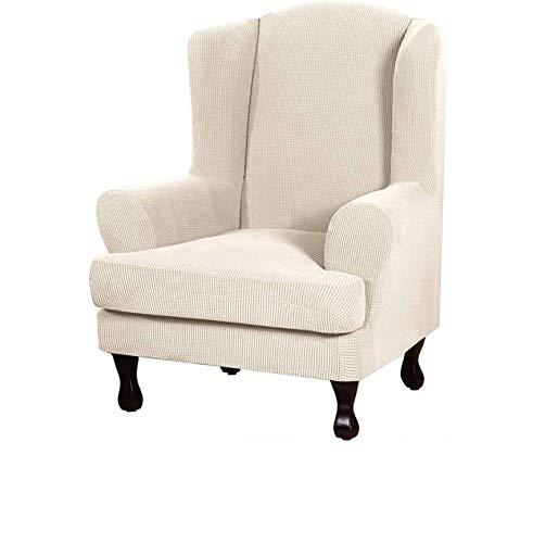 Wingback Armchair Cover,2 Piece Durable Soft High Stretch Jacquard Furniture Protector Spandex Wing Chair Slipcovers-Beige