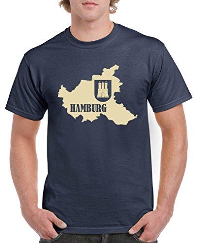 Comedy Shirts - Hamburg Landkarte mit Wappen - Herren T-Shirt - Navy/Beige Gr. XL