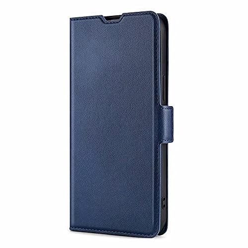 DOINK Dünne & Leichte Hülle für Oppo A53 / A53S, Flip/Folio Schutzhülle, Premium Lederhülle Klappbar mit Kartenschlitz - Blau