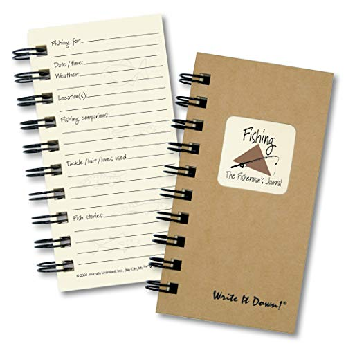 "Journals Unlimited ""Write it Down!"" Series Guided Journal, Fishing, The Fisherman's Journal, Mini-Size 3�x5.5�, with a Kraft Hard Cover, Made of Recycled Materials"