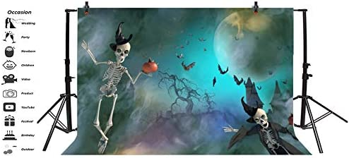 7x5ft Halloween Theme Backdrop Vinyl Gloomy Moonlight Ghastly Foggy Cemetery Walking Skeletons in Witch Hat with Pumpkins Haunted House Background Zombie Party Banner Child Kids Baby Shoot