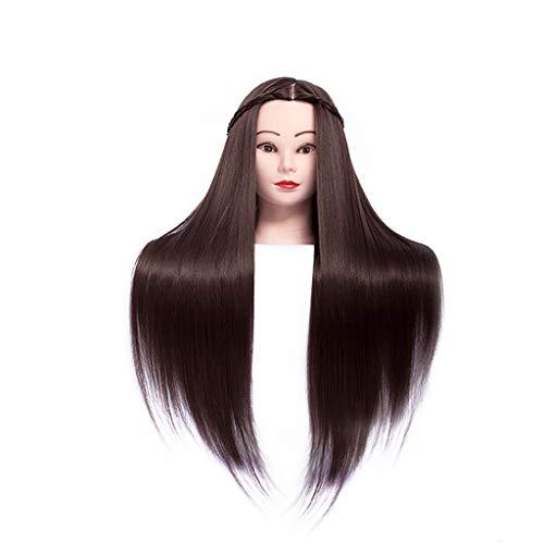Cabeza de Entrenamiento Muñecas para Peinados 60cm Alta Temperatura Fibra de Seda Cabeza de maniquí de Pelo Peinados Maniquí Femenino Estilismo de peluquería Cabeza de Entrenamiento