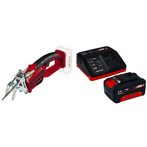 Einhell Akku Astsäge GE-GS 18 Li - Solo Power X-Change (Lithium Ionen, 18 V) + Starter Kit Akku und Ladegerät Power X-Change (Lithium Ionen, 18 V, 3,0 Ah Akku und Schnellladegerät)