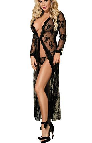 marysgift Spitze Lange Kleid Mesh Transparent Kimono Blumen Reizwäsche Nachtwäsche Lingerie Damen Babydoll Dessous Set mit G-String Große Größen 5XL 46 48