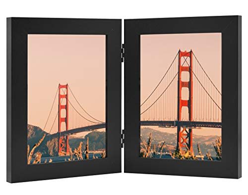 Frametory, Hinged Picture Frame with Glass Front Made to Display Two Pictures, Stands Vertically on Desktop or Table Top (Black, 5x7 Double)