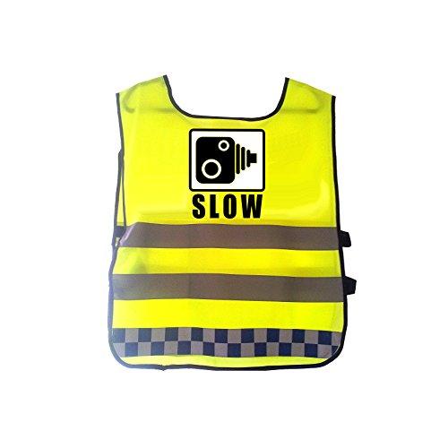 Hi Viz Reflektierende Warnweste Polizei Kamera kariert blau Klebeband Transparent Bold Nachricht Slow, blau