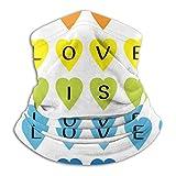 JONINOT Boca Co_V-er Calentador de Cuello de Microfibra Love is Love Texto Negro Rainbow Heart Set Fashion Balaclava Protección Facial