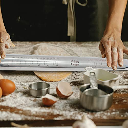18' Stainless Steel Non Stick French Rolling Pin for Baking Dough, Pizza, Pastry, Pie, Pasta and Cookies. Comes With: Thickness Rings, Silicone Baking Pastry Mat, and Dough Scraper!