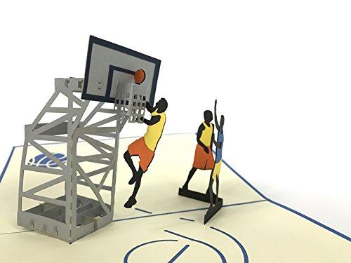 Tarjeta de felicitación 3D de campo de baloncesto, hecha a mano, para cumpleaños, bodas, aniversario, amistad, Navidad, Acción de Gracias, mejor deseo, buena suerte, feliz Año Nuevo