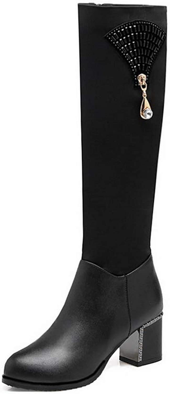 AdeeSu Womens Solid High-Top Bucket-Style Urethane Boots SXC03696