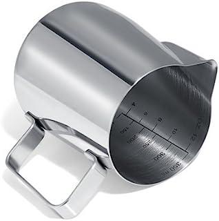 GWHOLEミルクピッチャー ステンレス製 ミルクジャグ ラテアート フォームドミルク カプチーノカップ 350ml ギフト シルバー